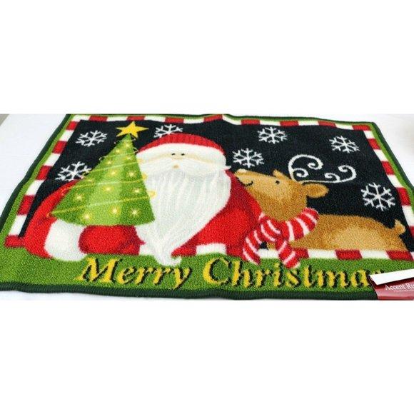 Merry Christmas Santa and Reindeer Door Mat Rubber